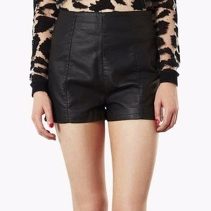 Pants - TOPSHOP Faux Leather High-Waisted Black Shorts